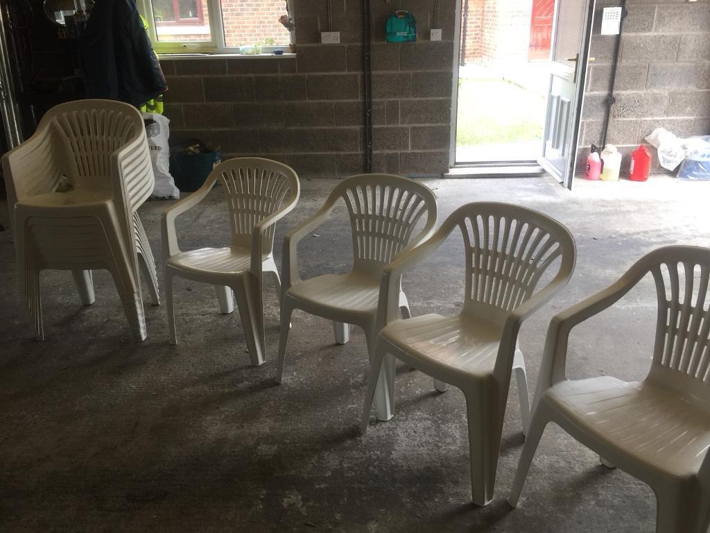12 White Plastic Progarden Garden Plastic Chairs Used