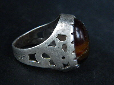 Antique Silver Ring With Stone 1900 AD #STC507