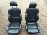 BMW E46 Coupe black leather electric heated front seats, good condition