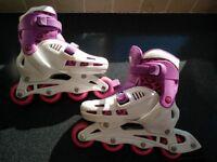 SFR Inline Skates Phantom White / Pink / Purple - adjustable to sizes: 12, 13, 1 & 2