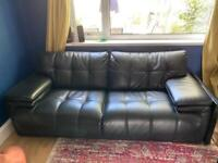 Used black leather 3 seater sofa and armchair