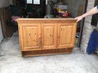 Wooden kitchen cabinet.
