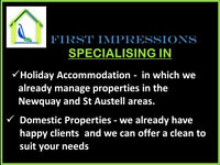 First Impressions offering cleaning services in Holiday Accommodations and Domestic cleans.
