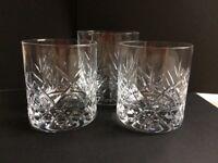 Crystal Whisky Glasses x 3