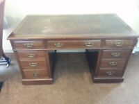 Anique Victorian Mahogany Desk by Hobbs & Co