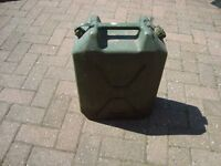 JERRY CAN. PLASTIC. EX ARMY. 5 GALLON CAPACITY. USED FOR DIESEL STORAGE
