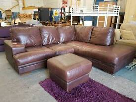 Large brown leather corner sofa with pouffe
