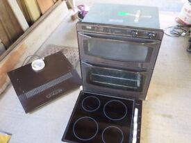 Under worktop Mocha Oven unit, Hob unit and Extractor fan for sale