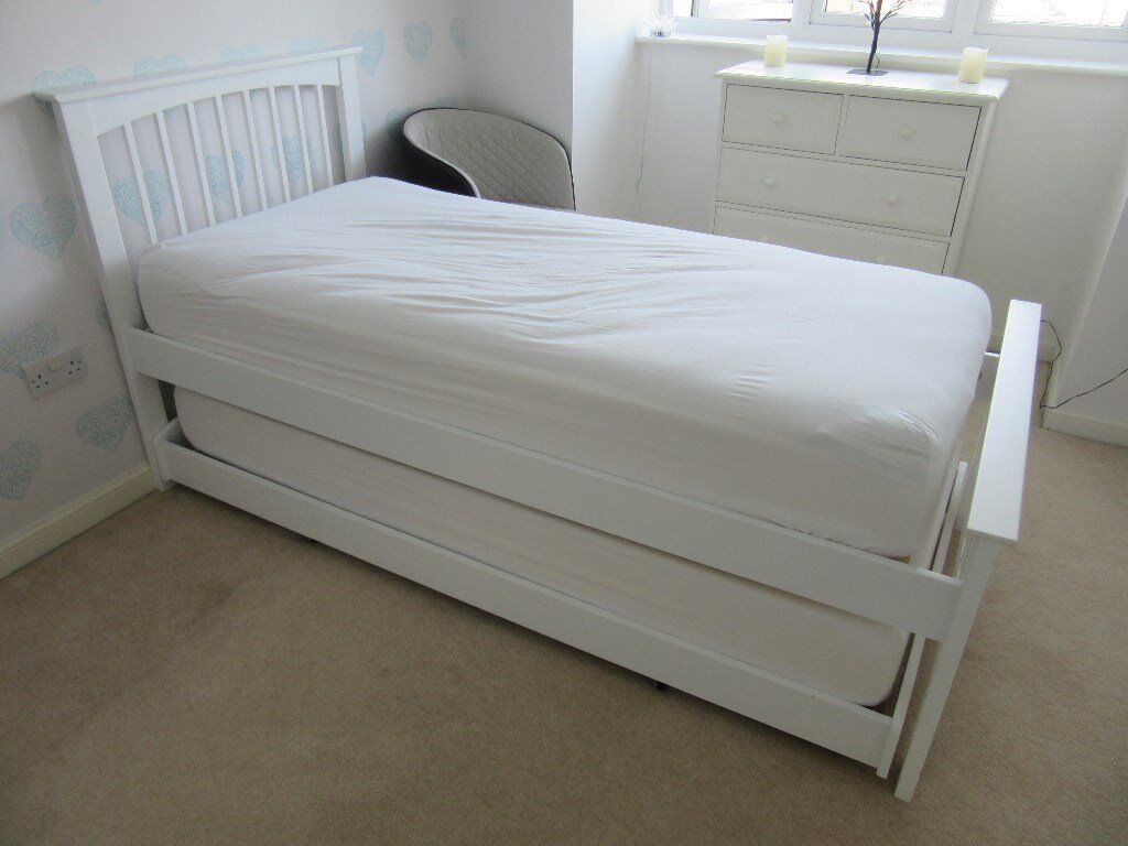 single bed with trundle white solid wood guest bed 3ft single trundle pull out 17073