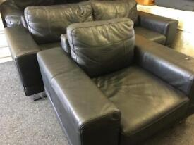 Black leather sofa and chair can deliver
