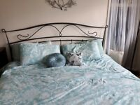 Unusual Super king size charcoal grey metal bed frame