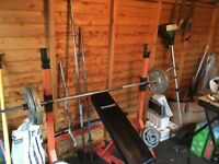 Weight bench and weights, squat rack
