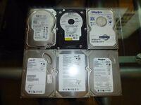 """5 x 80GB SATA II 3GB/s + 1 x 160GB SATA 1.5GB/s 3.5"""" hard drives"""