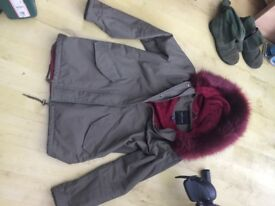 NEW LOOK coat size 10 worn once fur lined