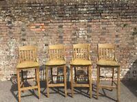 Oak bar chairs - Good quality, heavy duty.