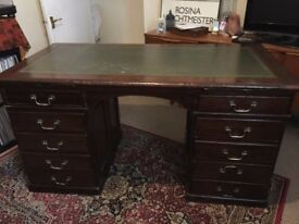SOLD Kneehole Twin Pedestal Writing Desk with Green Leather Top Drawers SOLD