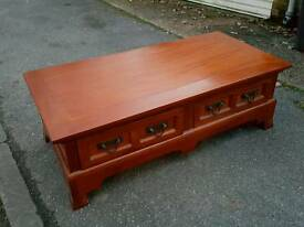 Mango wood coffee table drawers either side