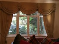Heavy Velvet fully lined curtains with swags and tails.