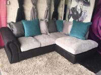 New Right Hand Scatterback Compact Corner Chaise Sofa In Black/Charcoal/Teal