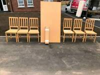 Dining room table and 6 railback chairs