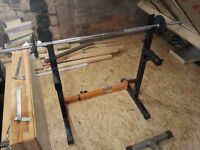 Weight bar, Iron cans weight discs, 2 small shafts, Dumbbell lifting bench and stand