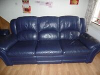 Two 3-Seater Blue Leather Sofas