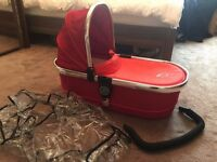 ICandy Peach Tomato Red Carrycot With Raincover - Nearly New