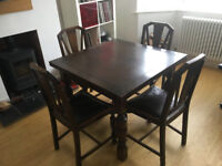 Vintage Oak Extendable Dining Table & 4 Chairs