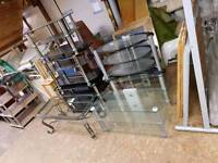 Selection of black and clear glass tables