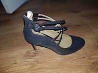 Brand new size 5 dark grey glitter heels