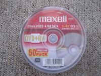 Pack of 50 Maxell DVD+RW rewritable discs - 4.7Gb - 1-4 speed - re-write up to 1000 times