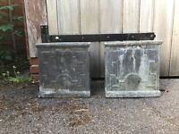 Pair of Grey Lead Effect Square Plant Pots