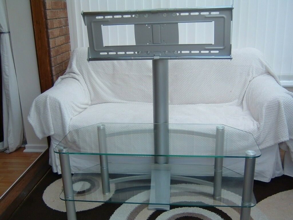 Quality Two Shelf Glass And Chrome Tv Stand With Adjustable Vesa