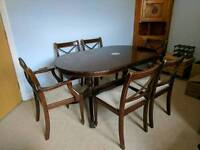 Vintage extendable dining table 6 chairs