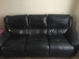 3 + 2 seater + 1 arm chair black recliner leather sofa! REDUCED PRICE NEED GONE ASAP