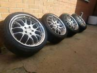 """18"""" STAGGARD SPIDER DEEPDISH VW AUDI SEAT SKODA ALLOY WHEELS 5X112 WITH TYRES"""