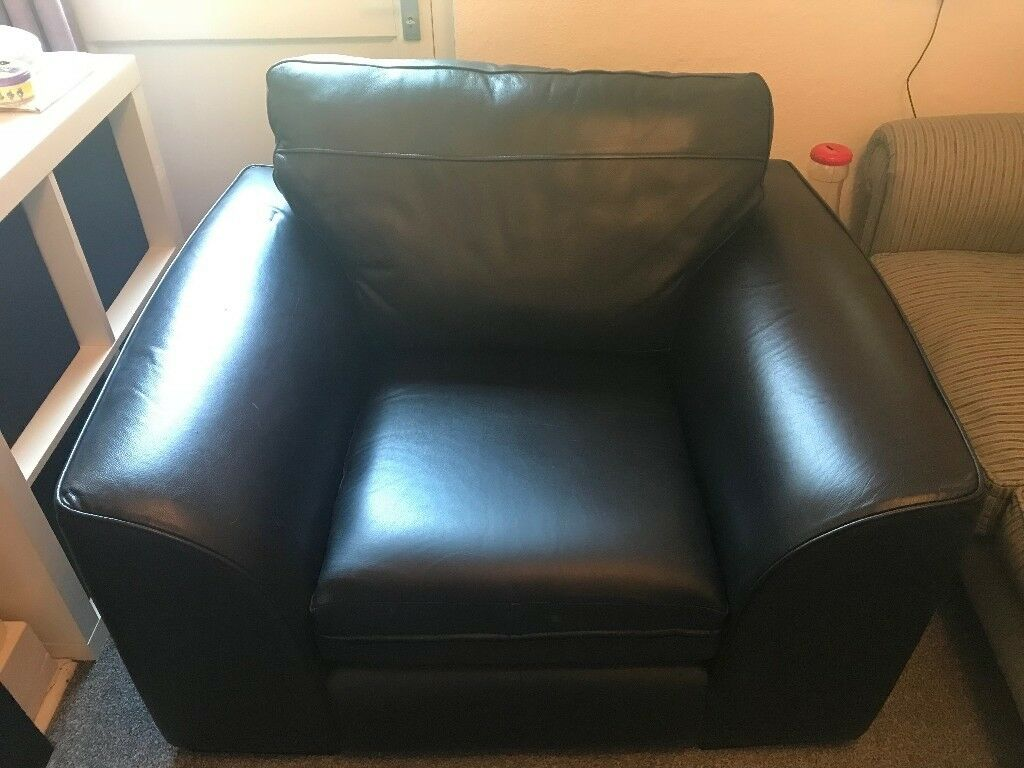 Black Faux Leather Armchair Very Good Condition