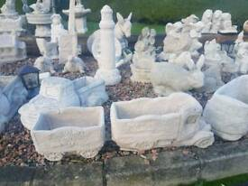 Concrete Donkey And Cart Garden Ornament In Saintfield County