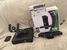 Xbox 360 Slim 120 GB bundle: console, Kinect, wheel and games