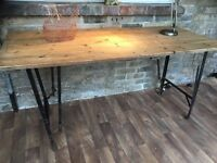 Pine Vintage Dining Kitchen Industrial chic Rustic Tressel