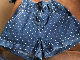 Girls denim spotty shorts