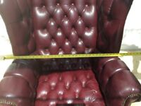 Leather wingback chair and footstool