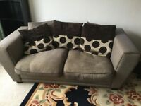 Two sofas with cushions light brown large 2 seaters