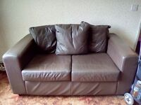 Two seater leather settee and Electric Recliner chair