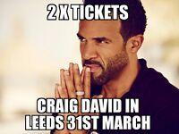 Craig David in Leeds, 31st March 2017 - 2 tickets