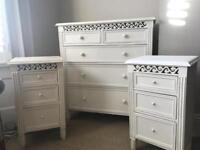 Bedroom furniture set. Chest of drawers and 2 x bedside tables