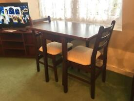 Dark wood drop leaf Table & 2 chairs. Quality made - Excellent condition - Bognor Regis