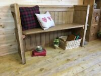 Rustic solid waxed pine wood church pew, monks bench settle, wooden hall