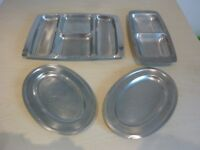 1970's RETRO STAINLESS STEEL SERVING DISHES AND PLATES