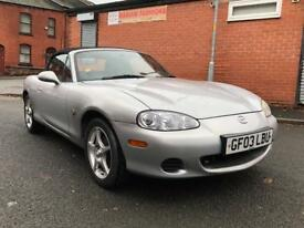 MAZDA MX5 1.8 CONVERTIBLE 2003 MOTD DRIVES WELL+REMOTE KEYS+ ALLOYS CHEAP RELIABLE CAR!
